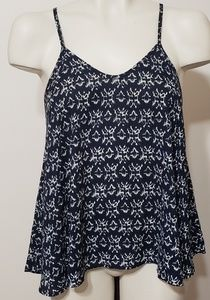Navy and cream abstract print camisole